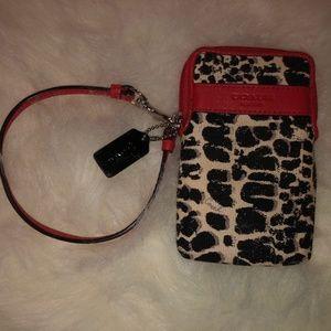 Coach Legacy Ocelot Leopard Print Red Wristlet